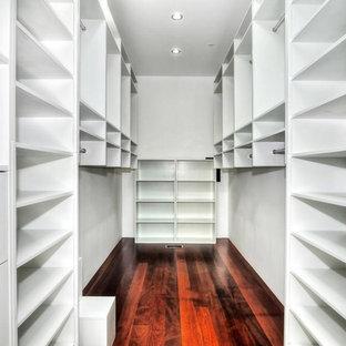 Idee per una piccola cabina armadio unisex contemporanea con nessun'anta, ante bianche e parquet scuro