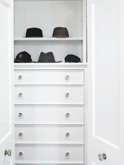 Small Trendy Menu0027s Reach In Closet Photo In Santa Barbara With White  Cabinets