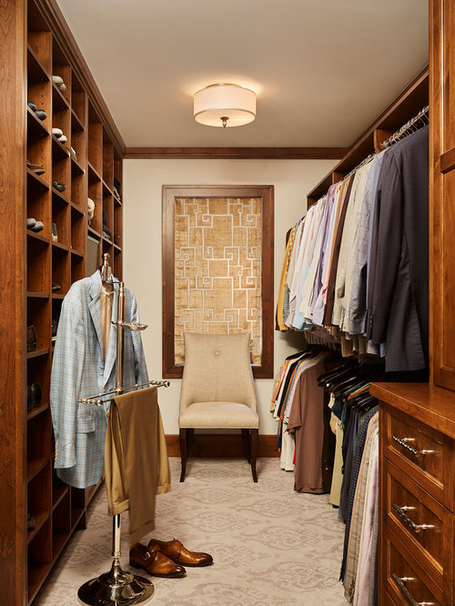 inspiration for a timeless mens carpeted and beige floor dressing room remodel in minneapolis with recessed - Closet Designs Ideas