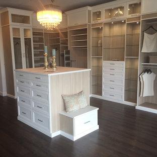 Diseño de armario vestidor unisex, clásico renovado, grande, con armarios con paneles empotrados, puertas de armario blancas y suelo de madera oscura