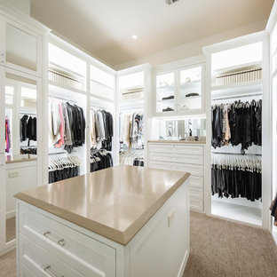 Example of a large classic gender-neutral carpeted and brown floor dressing room design in Dallas with white cabinets and recessed-panel cabinets