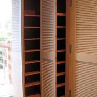 Diseño de armario y vestidor tropical, de tamaño medio, con moqueta