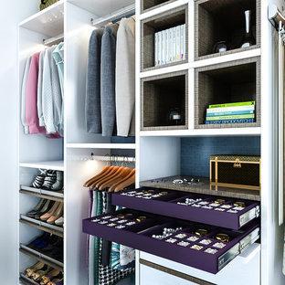 Foto di un armadio o armadio a muro minimalista di medie dimensioni con ante lisce e ante bianche