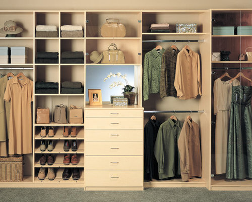 Mid Sized Contemporary Gender Neutral Carpeted Reach In Closet Idea In Los  Angeles