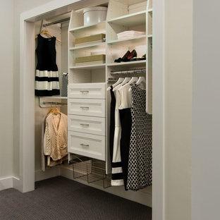 Ispirazione per un armadio o armadio a muro unisex classico di medie dimensioni con ante con riquadro incassato, ante bianche e moquette