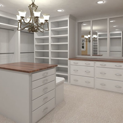 Example of a mid-sized classic women's carpeted and beige floor walk-in closet design in Tampa with open cabinets and white cabinets