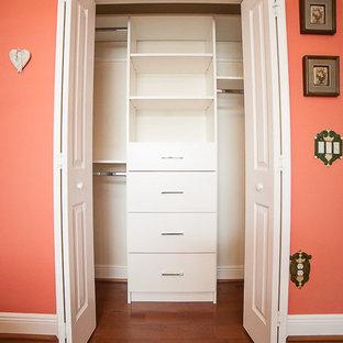 Modelo de armario unisex, tradicional renovado, pequeño, con armarios con paneles lisos, puertas de armario blancas, suelo de madera en tonos medios y suelo marrón