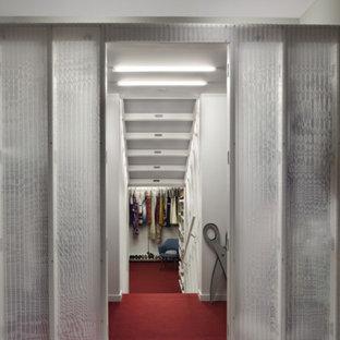 Immagine di un armadio incassato minimalista di medie dimensioni con moquette e pavimento rosso
