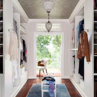 Example Of A Womenu0027s Dark Wood Floor And Brown Floor Dressing Room Design  In Richmond With