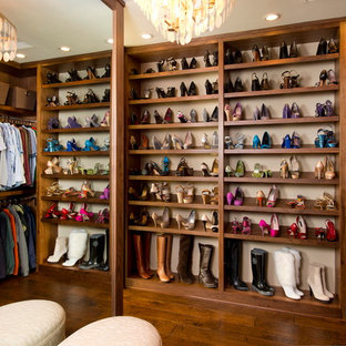 Inspiration For A Large Timeless Women S Dark Wood Floor Walk In Closet Remodel San Save Photo Robeson Design Fabulous Shoe Storage