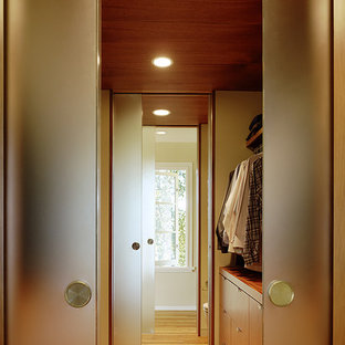 サンフランシスコの大きい男女兼用モダンスタイルのおしゃれなフィッティングルーム (フラットパネル扉のキャビネット、中間色木目調キャビネット、淡色無垢フローリング) の写真