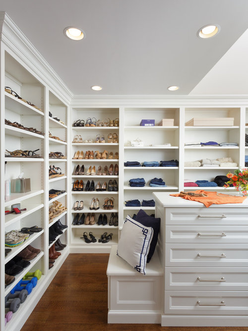 Inspiration For A Womenu0027s Dark Wood Floor Dressing Room Remodel In Other  With Recessed Panel