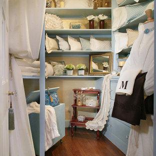 Diseño de armario vestidor unisex, romántico, de tamaño medio, con armarios con paneles lisos, puertas de armario azules y suelo de madera en tonos medios
