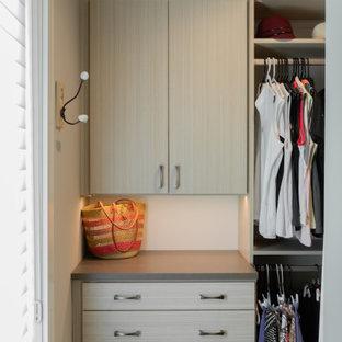 Modelo de armario vestidor de mujer, rural, grande, con armarios abiertos, puertas de armario marrones, moqueta y suelo marrón