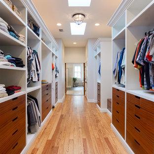 Ejemplo de armario vestidor unisex, marinero, grande, con armarios con paneles lisos, puertas de armario de madera oscura, suelo de madera en tonos medios y suelo marrón
