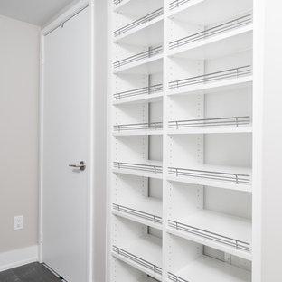 Modelo de armario unisex, minimalista, pequeño, con armarios abiertos, puertas de armario blancas y suelo de madera en tonos medios