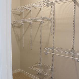 Bild på ett mellanstort amerikanskt walk-in-closet för könsneutrala, med heltäckningsmatta
