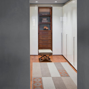 Inspiration for a contemporary walk-in closet remodel in Phoenix with white cabinets