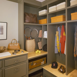 Design ideas for a traditional built-in wardrobe in Boston with open cabinets and green cabinets.