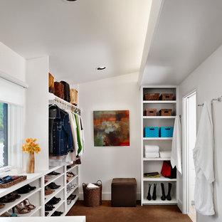Foto di uno spazio per vestirsi minimalista con nessun'anta, ante bianche e moquette