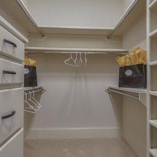 Idee per una cabina armadio per uomo mediterranea di medie dimensioni con moquette e pavimento beige