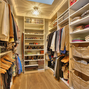 Example of a mid-sized transitional gender-neutral medium tone wood floor walk-in closet design in San Francisco with open cabinets and white cabinets