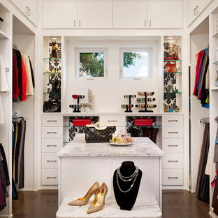 Inspiration for a contemporary dark wood floor walk-in closet remodel in Austin