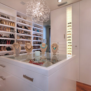 Trendy medium tone wood floor walk-in closet photo in Orange County with white cabinets