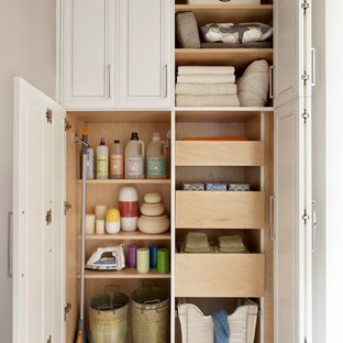 Example of a mid-sized minimalist gender-neutral dark wood floor reach-in closet design in New York with white cabinets and raised-panel cabinets