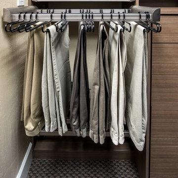 Tenino Walnut Reach-In Closet Display - Campbell Showroom