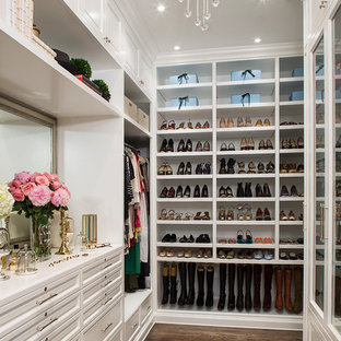 Inspiration For A Timeless Dark Wood Floor Dressing Room Remodel In Los  Angeles With White Cabinets