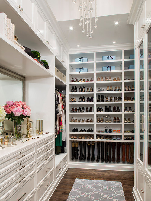 Inspiration for a timeless dark wood floor dressing room remodel in Los  Angeles with white cabinets Dressing Room Ideas Design Photos Houzz