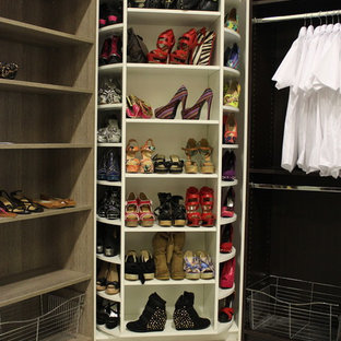 Closet - small modern porcelain floor closet idea in Miami