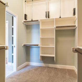 Klassisk inredning av ett mellanstort walk-in-closet för könsneutrala, med öppna hyllor, vita skåp och heltäckningsmatta