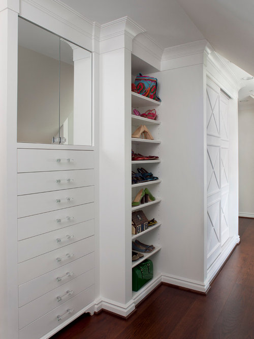 Traditional Dark Wood Floor Dressing Room Idea In Detroit With White  Cabinets