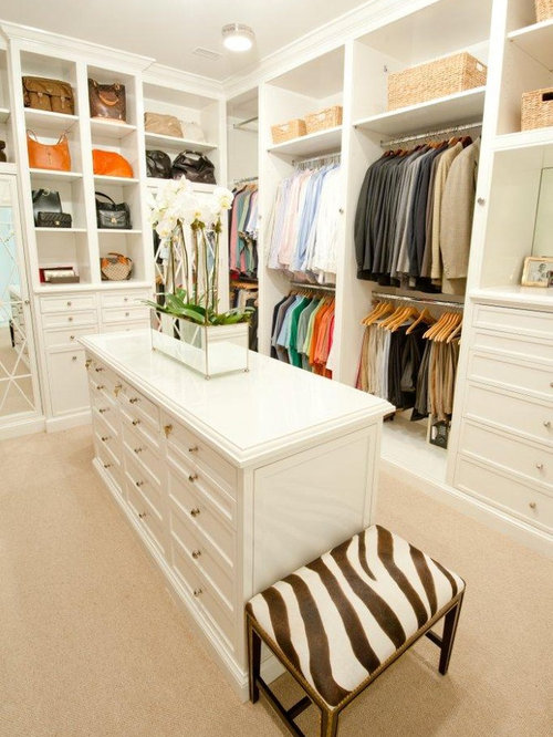Inspiration For A Timeless Walk In Closet Remodel In Houston With White  Cabinets