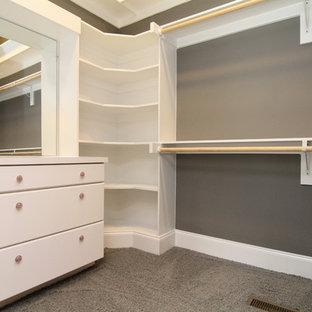 ローリーの広い男女兼用トランジショナルスタイルのおしゃれなフィッティングルーム (白いキャビネット、カーペット敷き) の写真