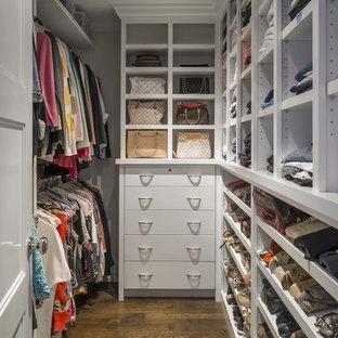 Exempel på ett mellanstort klassiskt walk-in-closet för kvinnor, med släta luckor, vita skåp och mellanmörkt trägolv