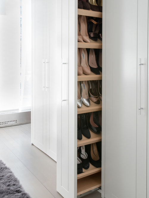 Example Of A Trendy Womenu0027s Light Wood Floor And Gray Floor Walk In Closet  Design Part 77