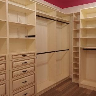 Idee per una cabina armadio per donna chic di medie dimensioni con ante con bugna sagomata, ante beige, parquet scuro e pavimento grigio