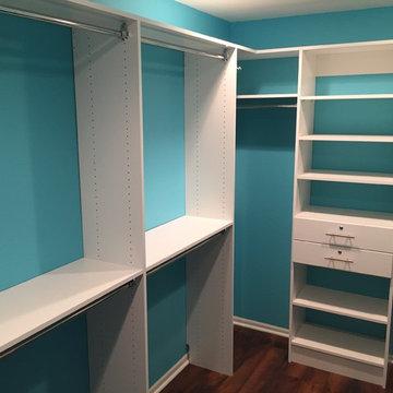 Turquoise walk-in closet