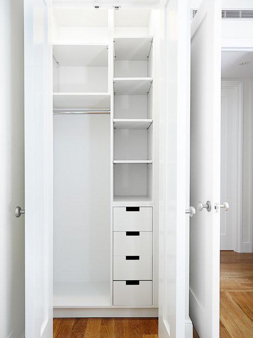 Best Small Closet With Light Hardwood Floors Design Ideas