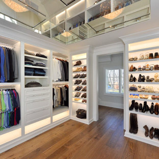 Large Transitional Gender Neutral Medium Tone Wood Floor And Brown Floor  Walk In Closet