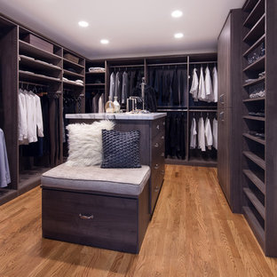 Example of a large trendy gender-neutral medium tone wood floor walk-in closet design in San Francisco with flat-panel cabinets and gray cabinets