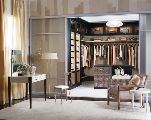 Large Trendy Womenu0027s Carpeted Walk In Closet Photo In Austin With  Glass Front Cabinets