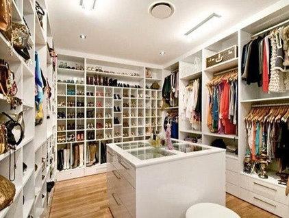 Contemporary Closet Walk in Closet