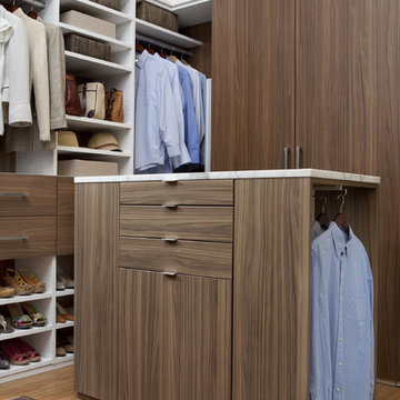 Walk-In Closet in Walnut and White Melamine