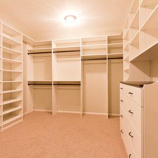 Imagen de armario vestidor de estilo americano, de tamaño medio, con armarios con paneles lisos, moqueta, suelo beige y puertas de armario blancas
