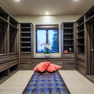 ソルトレイクシティの広い男女兼用トランジショナルスタイルのおしゃれなウォークインクローゼット (フラットパネル扉のキャビネット、中間色木目調キャビネット、カーペット敷き) の写真