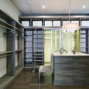 Inspiration för ett stort vintage walk-in-closet för könsneutrala, med grå skåp och släta luckor